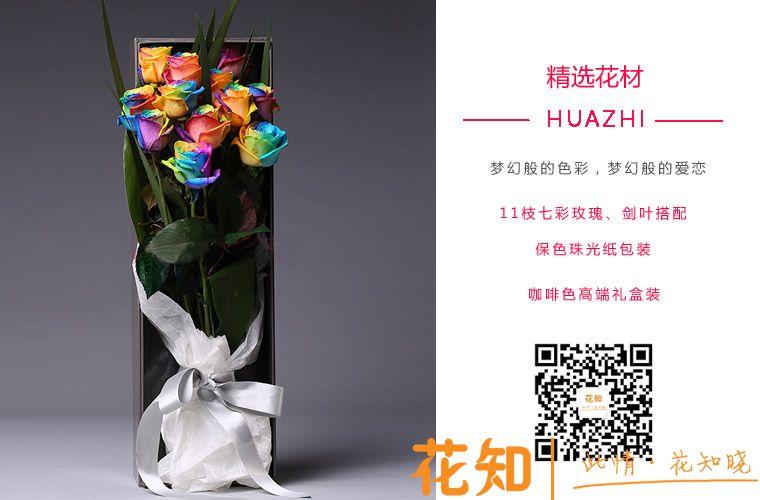 七彩玫瑰11枝